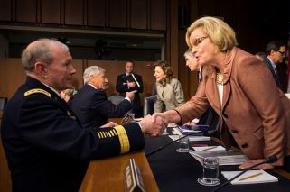 "Senator Claire McCaskill (D-MO) Image Credit: ""Chairman of the Joint Chiefs of Staff Gen. Martin E. Dempsey greets Senator Claire McCaskill at the Senate Hart Office Building in Washington, D.C. April 17, 2013"" by Ktr101is licensed under CC by 2.0)"